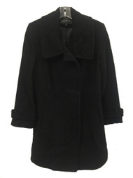 JONES NEW YORK PETITE Single-Breasted Wool Black/Black Coat Size 8P