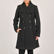 Larry Levine Wool Blend Dark Charcoal Lined Coat Long  Size 14