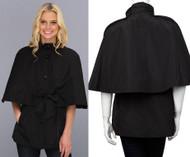 Betsey Johnson Black Belted Cape Jacket Size Small