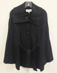 Calvin Klein Belted Sequin Black Cape Size S/M