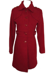 Kenneth Cole New York Coat Wool Military Walker Ruby Red