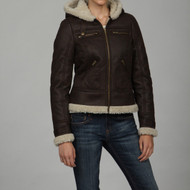 Maralyn and Me Brown Fitted Faux-shearling Hooded Bomber Jacket Size XS