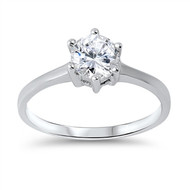 Solitaire Cubic Zirconia Ring Sterling Silver 925