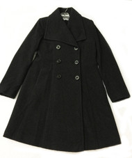 Larry Levine Double Breasted Wool Coat Dark Charcoal Size 6