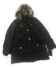 Steve Madden Parka Faux Fur Hood Black Jacket, Size SP