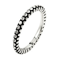 Plain Silver Circle Pattern Stackable Band Sterling Silver 925 Ring