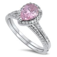 Teardrop Pink Cubic Zirconia Engagement Wedding Ring Sterling Silver 925