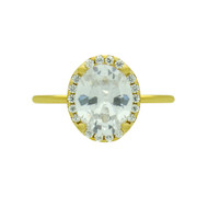 Gold-Tone Plated Clear Oval Cubic Zirconia Sterling Silver 925 Ring With Surrounding Clear Cubic Zirconia Stones
