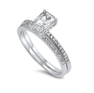 Rectangular Cut Cubic Zirconia Engagement Wedding Ring Sterling Silver 925