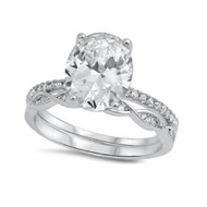 Engagement Wedding Cubic Zirconia Ring With Oval Center Sterling Silver 925