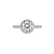 Rhodium Plated Round Cubic Zirconia Engagement Sterling Silver 925 Ring With 8 Cubic Zirconias On Band