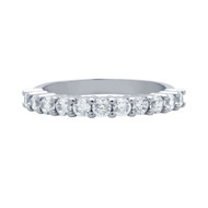 11 Round Cubic Zirconia Half Eternity Band Ring Rhodium Plated Sterling Silver