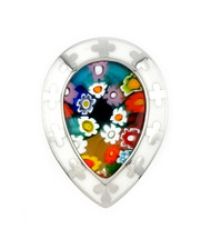 Millacreli Faceted White And Multi Color Pear Shape Sterling Silver 925 Ring