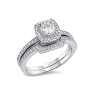 Round Cut Cubic Zirconia Wedding Engagement Ring Sterling Silver 925