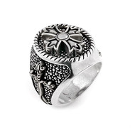 Twisted Blade Silver Round Sterling Silver Designer Ring With Fleur De Lis Cross Center Angled View