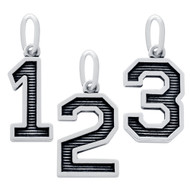 Oxidized Sterling Silver 0 To 9 Numbers Pendant