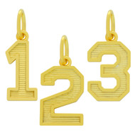 Yellow Gold-Tone Plated Sterling Silver 0 To 9 Numbers Pendant