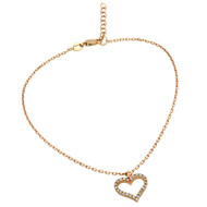 "Rose Gold-Tone Plated Cubic Zirconia Heart Anklet 9"" + 1"""