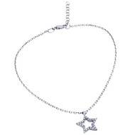 "Rhodium Plated Cubic Zirconia Star Anklet 9"" + 1"""