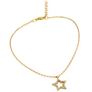 "Gold-Tone Plated Cubic Zirconia Star Anklet 9"" + 1"""