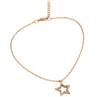 "Rose Gold-Tone Plated Cubic Zirconia Star Anklet 9"" + 1"""
