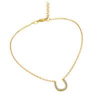 "Gold-Tone Plated Cubic Zirconia Horseshoe Anklet 9"" + 1"""