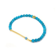 Gold-Tone Plated Cubic Zirconia Bar And Light Blue Eye Bracelet With Simulated Turquoise Beads 7""