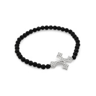 Cubic Zirconia Cross Bracelet With Simulated Onyx Beads 7""