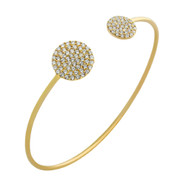 """Gold-Tone Plated Cubic Zirconia Double Round Design Cuff Bracelet 7"""""""