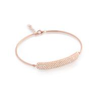 "Rose Gold-Tone Plated Cubic Zirconia Bar On Bangle Style Bracelet 7"" + 1"""
