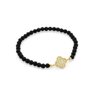 """Gold-Tone Plated Cubic Zirconia Clover On Black Simulated Onyx Bead Stretch Bracelet 7"""""""