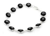 "Black Glass Eye Bracelet 7"""