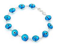 "Light Blue Glass Eye Bracelet 7"""