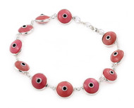 "Pink Glass Eye Bracelet 7"""