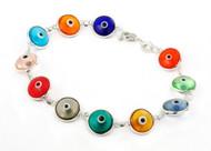 "Multi Color Transparent Glass Eye Bracelet 7"""