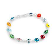 "Multi Color Glass Eye Bracelet 7"""