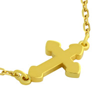 "Gold-Tone Plated Sterling Silver Small Shiny Cross Necklace 16"" + 2"""