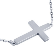 "Rhodium Plated Sterling Silver Plain Shiny Cross Necklace 16"" + 2"""