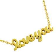 "Gold-Tone Plated Sterling Silver High Polished ""Love You"" Necklace 16"" + 2"""