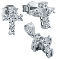 Rhodium Plated Cross Cubic Zirconia Set Pendant And Stud Earrings