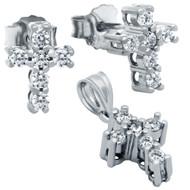 Rhodium Plated Cross Cubic Zirconia Set Pendant And Stud Earrings