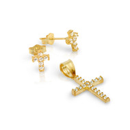 Gold-Tone Plated Pave Cubic Zirconia Cross Set Pendant And Stud Earrings