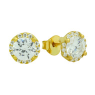 Gold-Tone Plated Round Cubic Zirconia Earrings With All Around Small Cubic Zirconia Stones