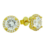 Gold-Tone Plated Round Cubic Zirconia Earrings With All Around Cubic Zirconia Stones