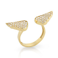 Gold-Tone Plated Cubic Zirconia Angel Wings Adjustable Sterling Silver 925 Ring