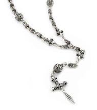 """Sterling Silver Twisted Blade Silver Studded Ball Link And Small Dagger Rosary With Small Twisted Dagger 32"""" Designer Pendant Necklace"""