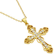 "Gold-Tone Plated Pave Cubic Zirconia Intricate Cross Necklace With Hearts 16"" + 2"""
