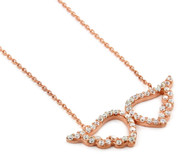 """Rose Gold-Tone Plated Angel Wings Cubic Zirconia Necklace 16""""+1"""" Adjustable"""