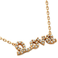"Rose Gold-Tone Plated Cubic Zirconia Love Necklace 16""+2"" Adjustable"
