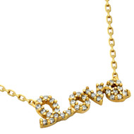 "Gold-Tone Plated Cubic Zirconia Love Necklace 16""+2"" Adjustable"